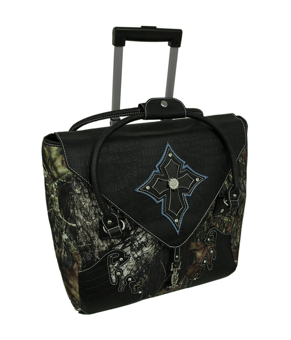 Forest Camo Handbag Style Rolling Carry On Bag W/Padded Laptop Pouch Polyester Carry-Ons Black