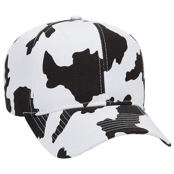 OTTO Cow Pattern Cotton Blend Twill 6 Panel Pro Style Baseball Cap - Blk Wht fda7d047f58