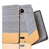 Cadorabo Case works with Lenovo (Motorola) MOTO Z FORCE Book Case in LIGHT GREY BROWN (Design FABRIC-FAUXLEATHER) – with Magnetic Closure, Stand Function and Card Slot – Wallet Etui Cover