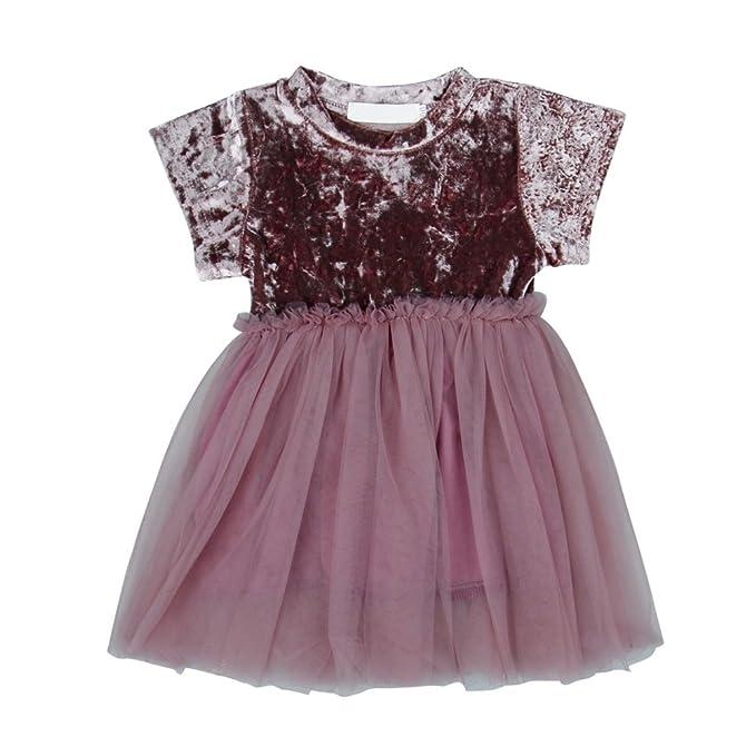Brightup Vestido de niña, Velvet Tulle Princess Vestido de novia o fiesta, rosa