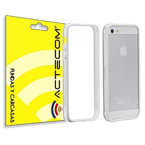 cogac ACTECOM® Funda Bumper para iPhone SE 5 5S Blanco Centro Transparente Carcasa Protectora