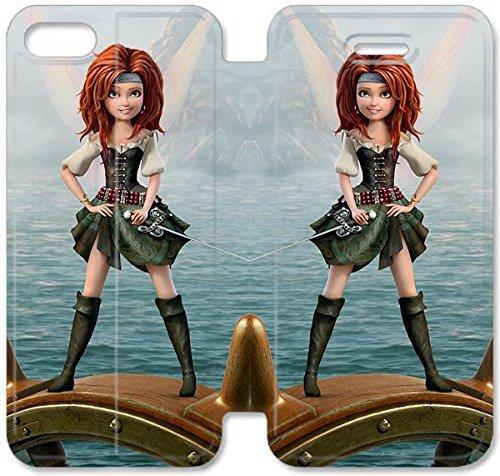 Flip étui en cuir PU Stand pour Coque iPhone 5 5S, 5 cas de téléphone cellulaire 5S Bricolage Disney The Pirate Fée Caractère Zarina L5J7QM Effacer Coque iPhone étui en cuir unique