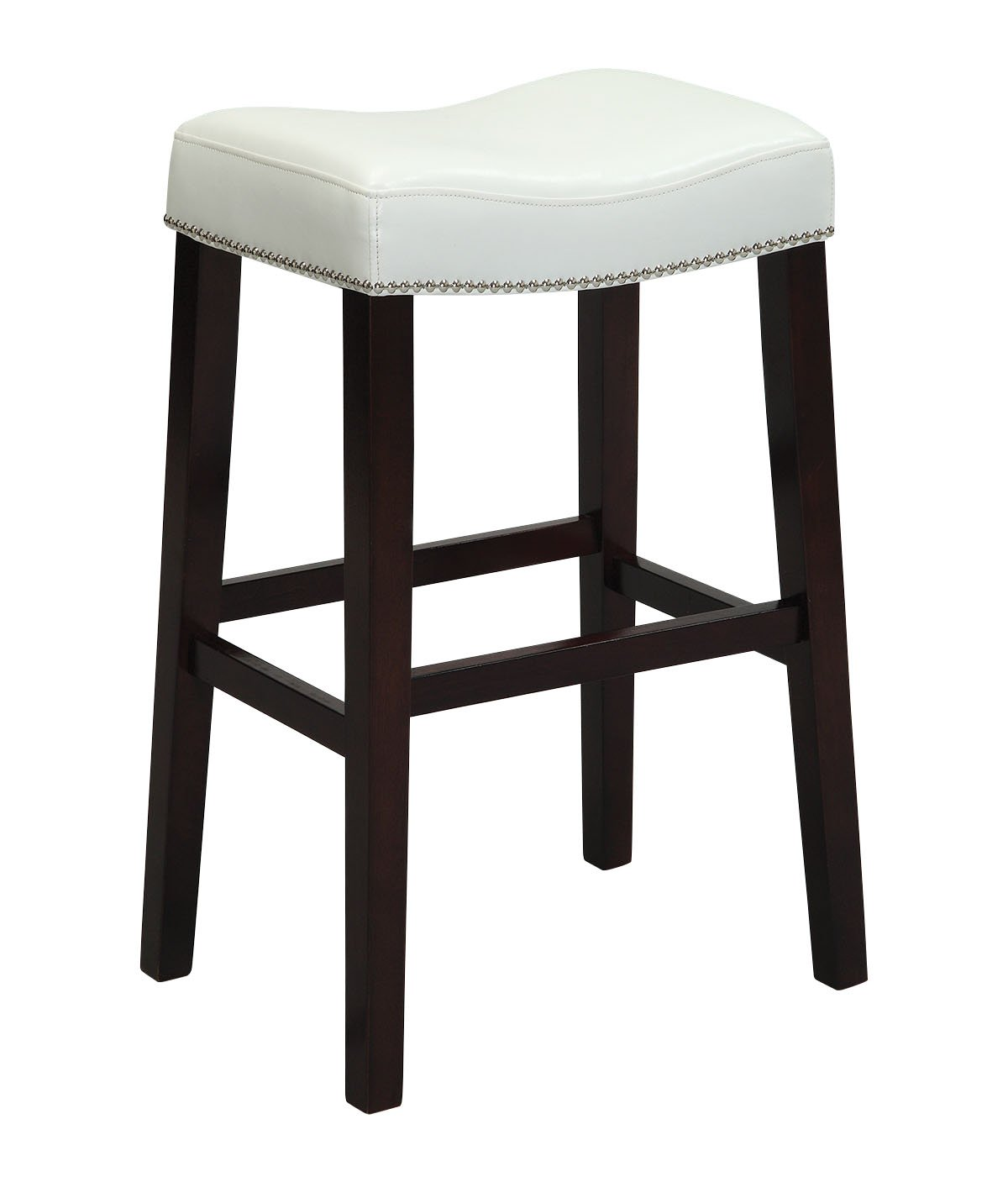 Amazon com acme lewis counter height stool set of 2 white pu and espresso kitchen dining