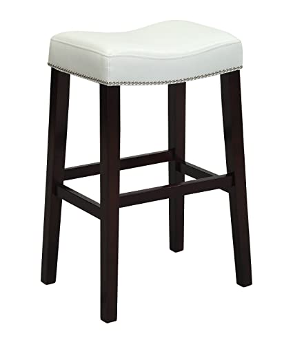 Perfect Acme Lewis Counter Height Stool (Set Of 2), White PU And Espresso