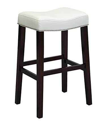 ACME Lewis Counter Height Stool (Set Of 2), White PU And Espresso