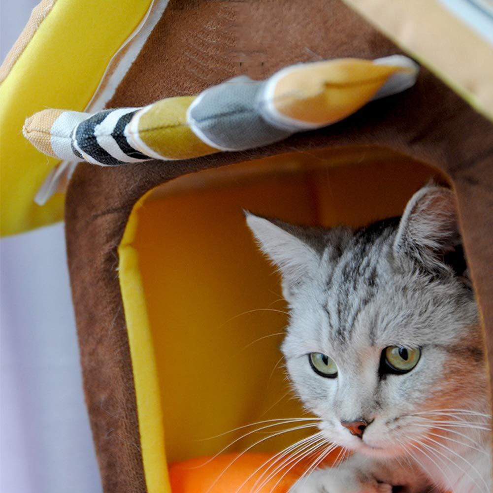 Small Cat Litter Kennel Pet Nest Cool Mat Summer Sponge Dog House Small and Medium Detachable Wash Nest Creative Pet Cat Supplies Cartoon Kennel,S