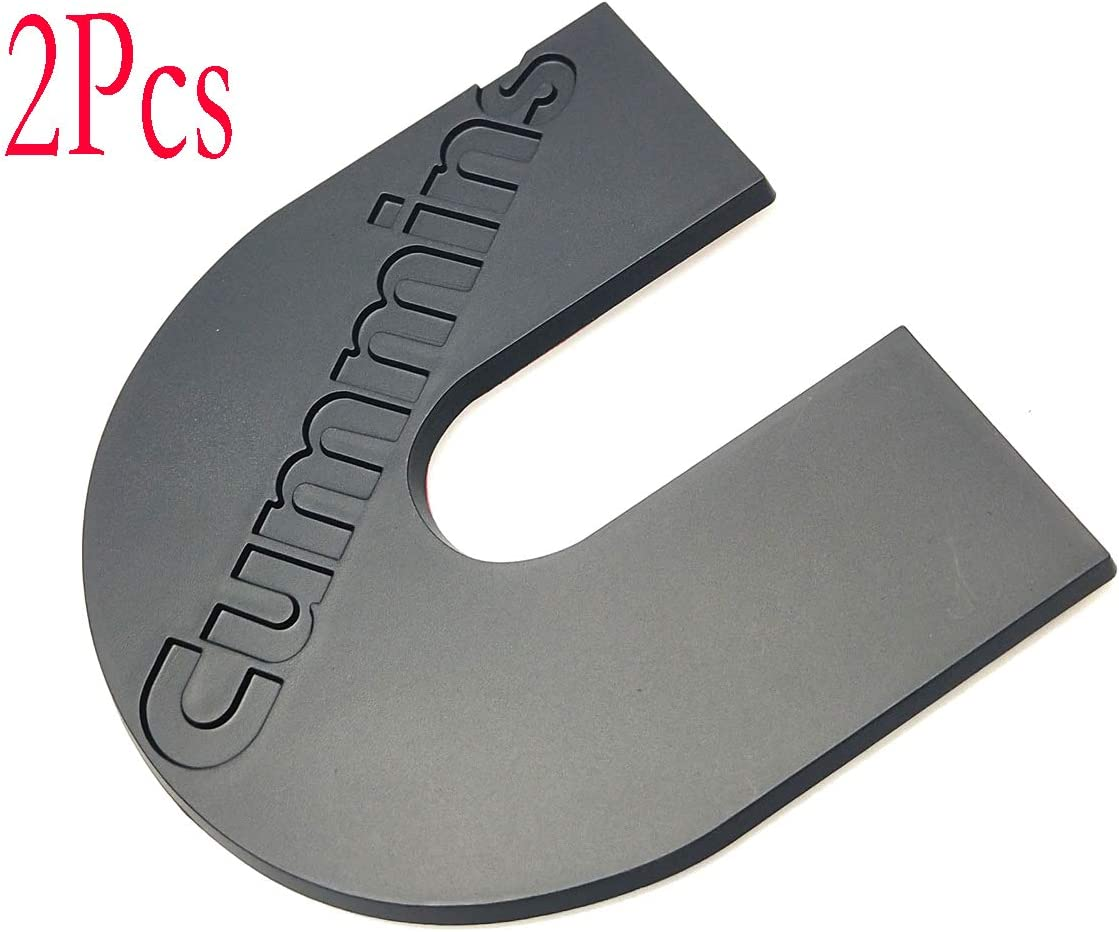 2pcs Cummins Emblems Decal Plaque Turbo Diesel Badge Cumming Door Tailgate Nameplate Fender Compatible with 2500 3500 Black