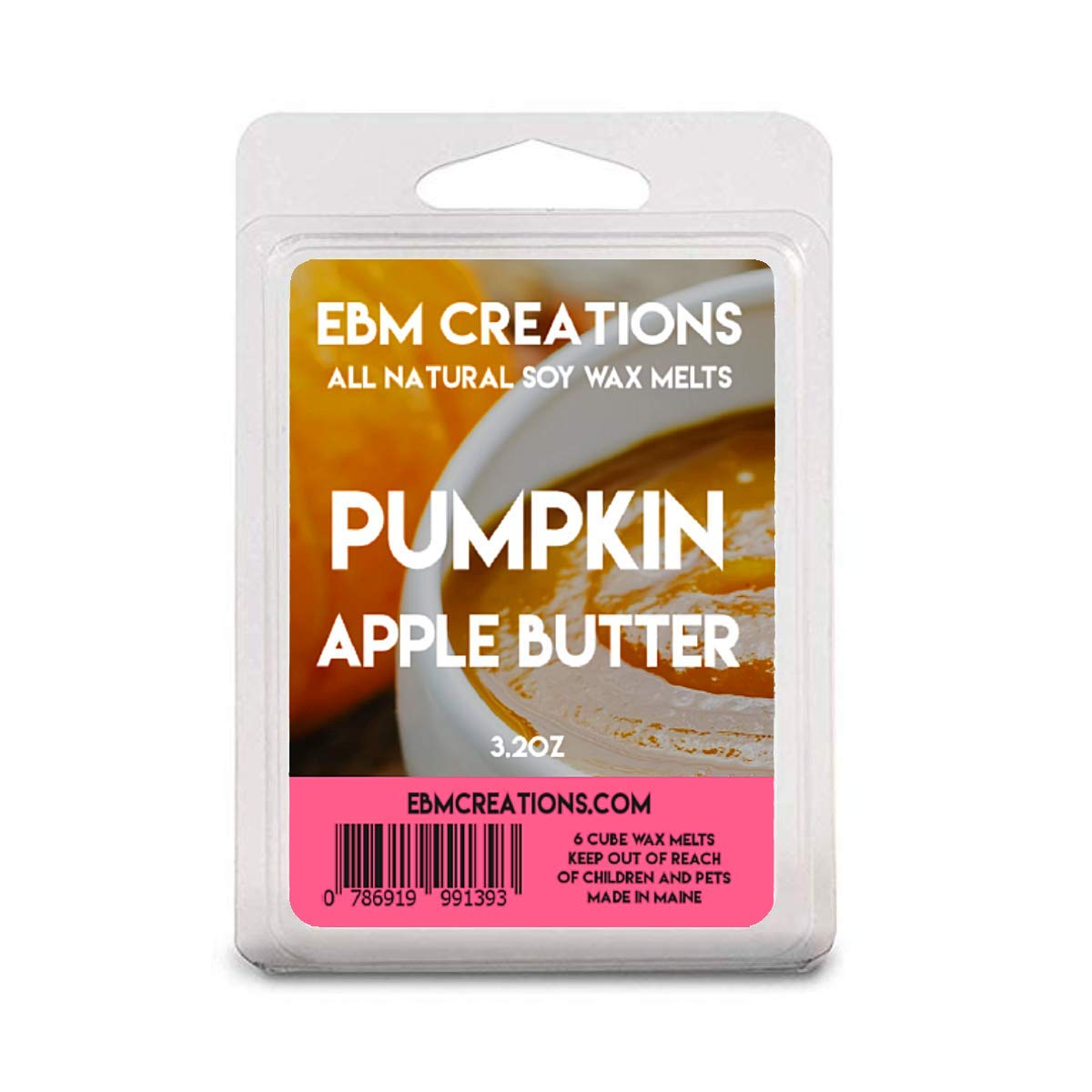 Pumpkin Apple Butter - Scented All Natural Soy Wax Melts - 6 Cube Clamshell 3.2oz Highly Scented!