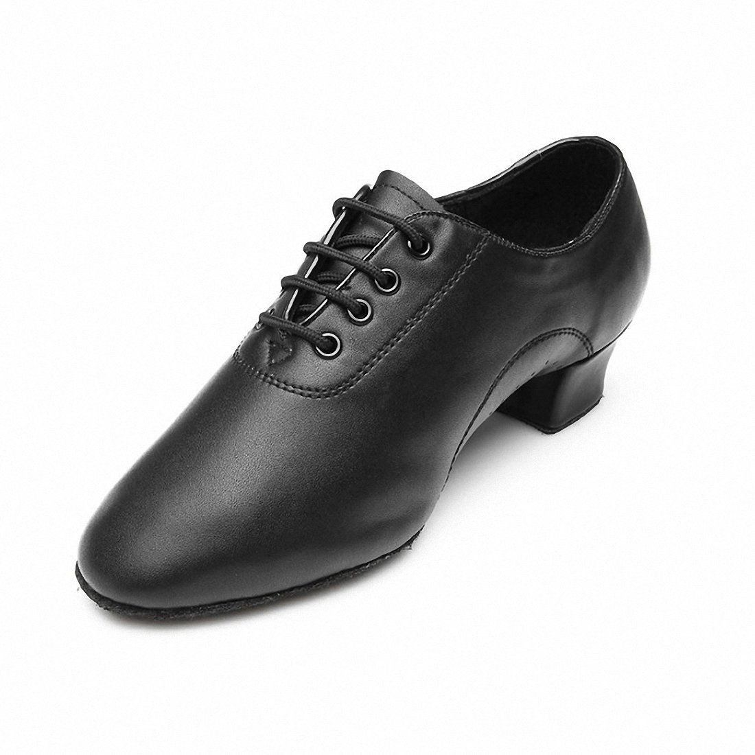 MQFORU Chaussure de Danse Homme Garçon pour Danse Moderne Latine Jazz Salsa Tango Salle de Bal en Cuir Semelle Souple Noir SANSHA 701-44