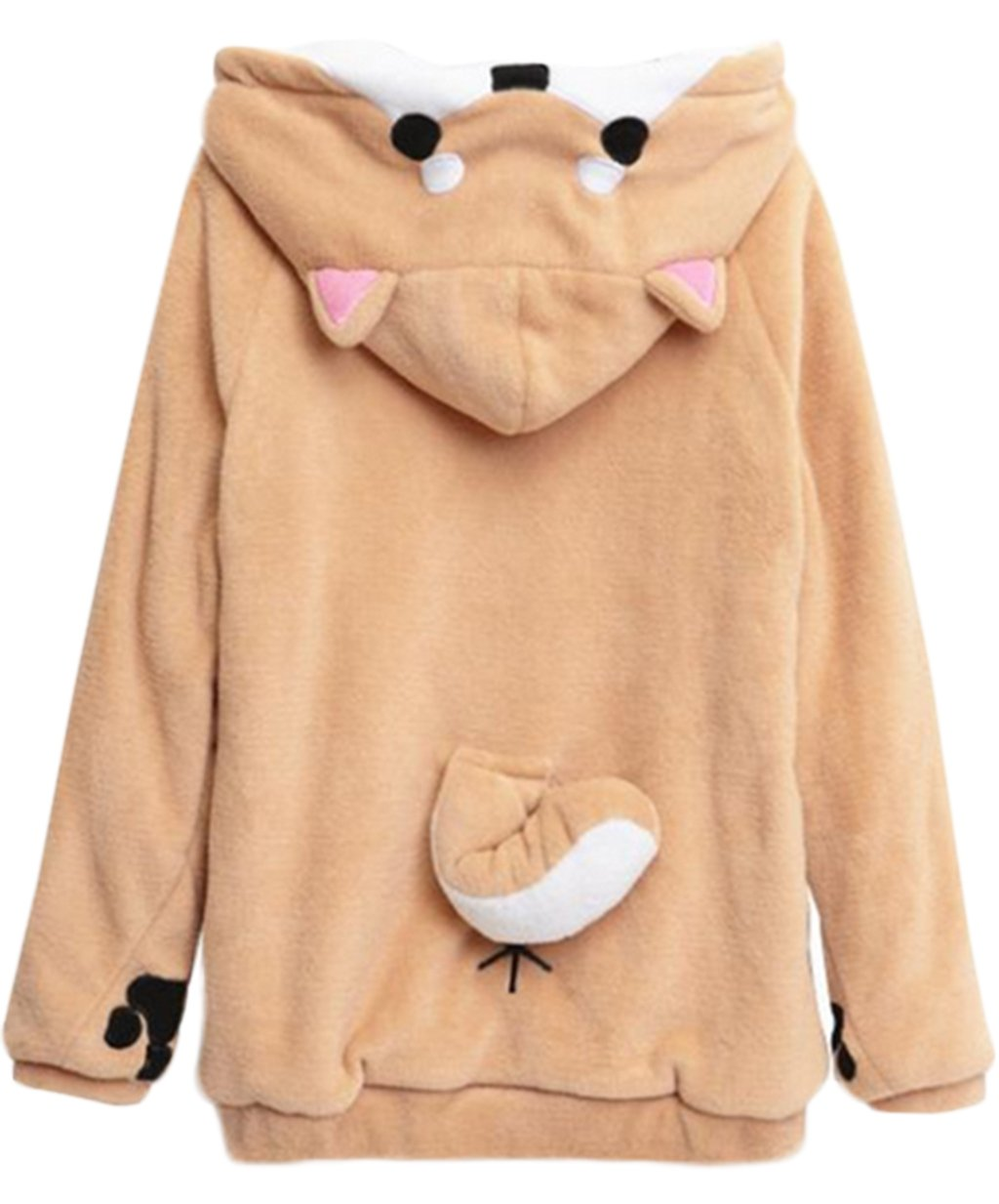 Girls Hoodie Long Sleeve Sweatshirts With Ears Cute Doge Muco Winter Plush Lovely Muco size M (Khaki)