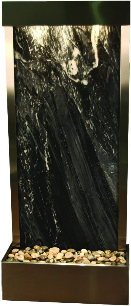 Harmony River Water Feature with Stainless Steel Trim, Flush Mounted in Base Black Spider Marble