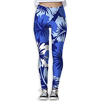 253fa4a3f8 Flower Lover Blue Hibiscus Womens Full-Length Sports Running Yoga Workout Leggings  Pants Stretchable S