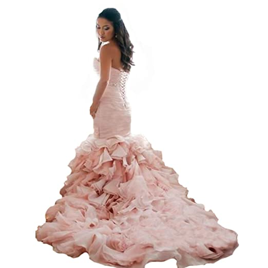 Fair Lady Sweetheart Ruched Pleated Mermaid Wedding Dresses for Bride Plus  Size Organza Pink Bridal Gowns
