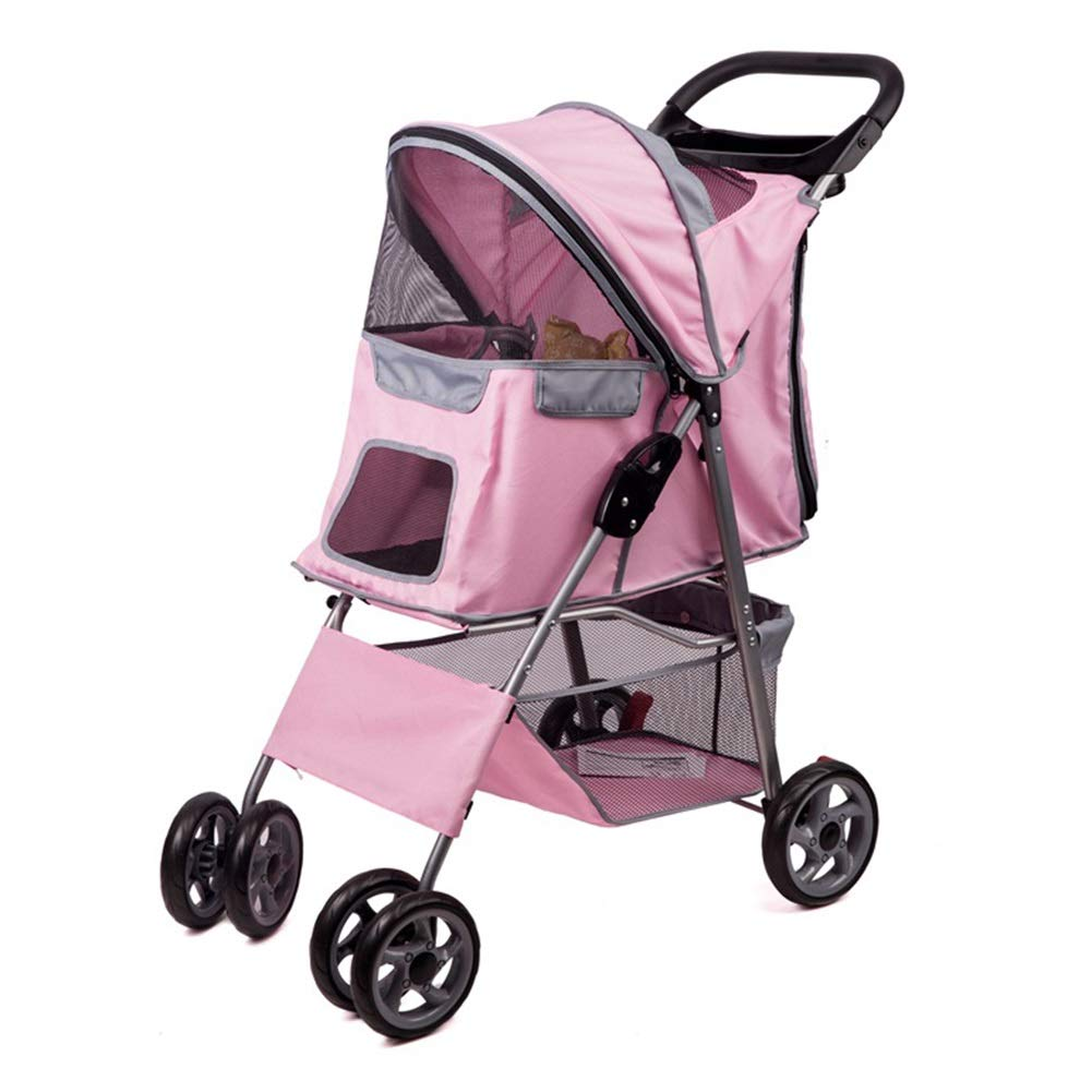 PINK Dog Strollers, Pet Cart Foldable 4 Rounds Damping Reversing Cat and Dog Baby Carriage for Teddy Small and Medium Disabled Dogs Trolley (color   Pink)