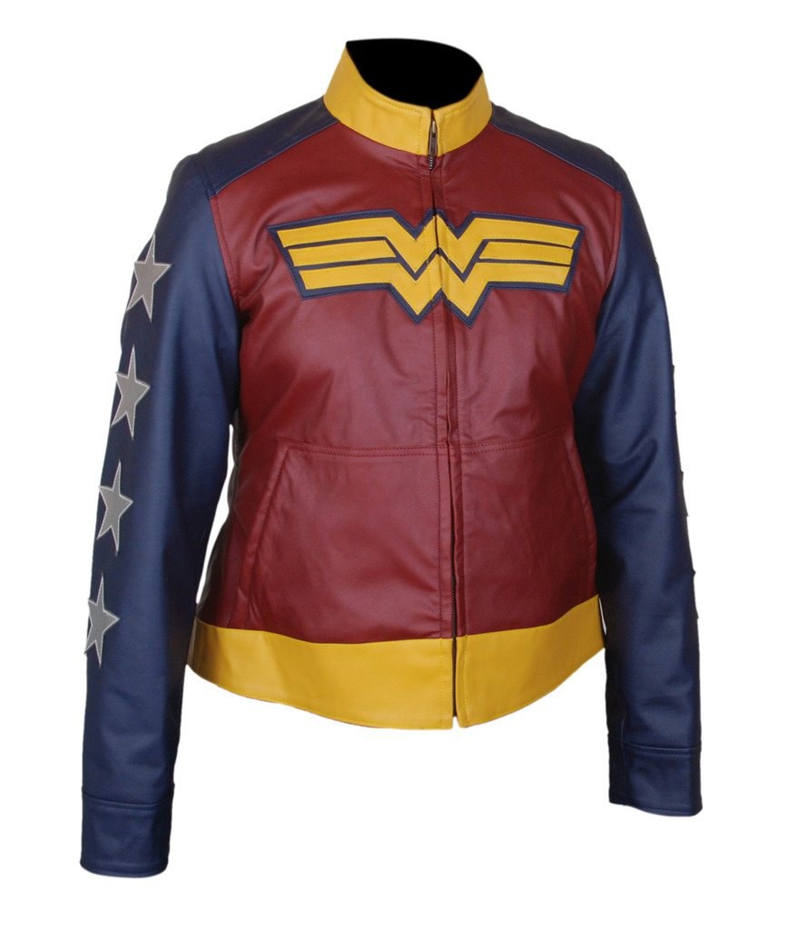 F&H Women's Wonder Woman Gal Gadot Genuine Leather Jacket 4XL Multi by Flesh & Hide