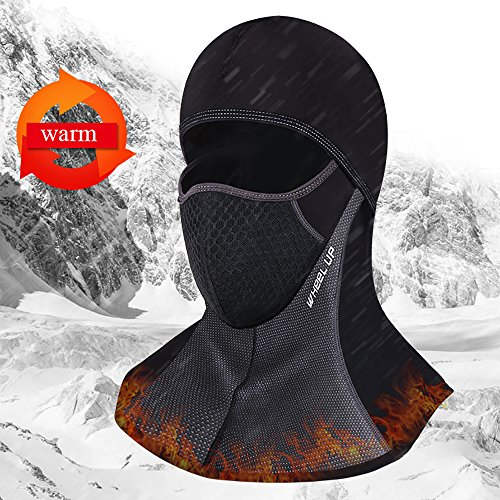 KingBra Fleece Hood Balaclava With Zipper On The Back,Heavyweight Fleece Cold Weather Face and Neck Mask Black everage by KingBra