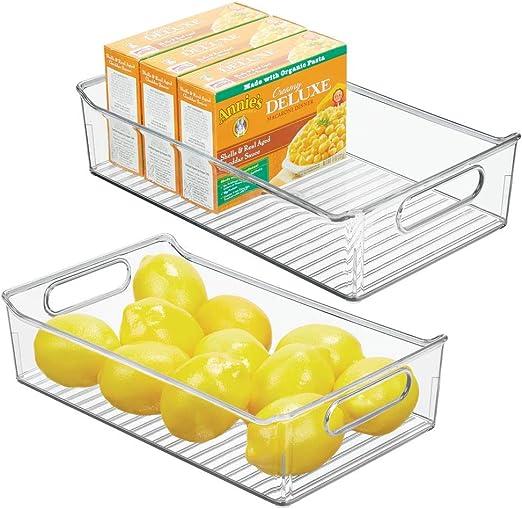 mDesign Juego de 2 fiambreras para el frigorífico – Cajas de plástico para guardar alimentos – Organizador de nevera para lácteos, frutas y otros alimentos – transparente: Amazon.es: Hogar