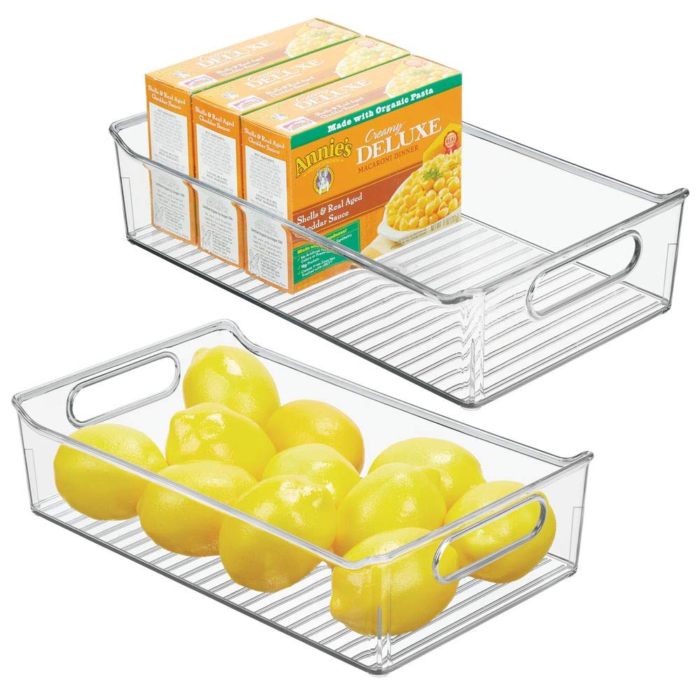 "mDesign Wide Plastic Kitchen Pantry Cabinet, Refrigerator or Freezer Food Storage Bin with Handles - Organizer for Fruit, Yogurt, Snacks, Pasta - BPA Free, 14"" Long, 2 Pack - Clear"