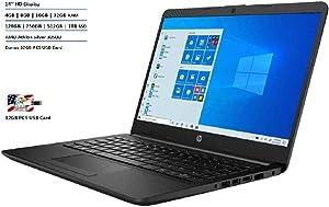 "2020 HP Pavilion 14"" HD Display Laptop Computer, AMD Athlon Silver 3050U Processor, 16GB RAM, 512GB SSD, AMD Radeon Graphics, Webcam, Stereo Speakers, Windows 10, Black, 32GB PCS USB Card"