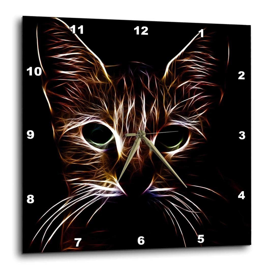 DPP/_155250/_1 3dRose 3D Rose Tabby Cat Face Pet Lovers Glowing Neon Light Art-Wall Clock 10-inch