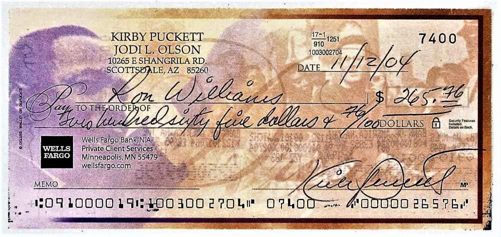 Kirby Puckett Signed Autographed 2004 Hand Written Bank Check Beckett BAS
