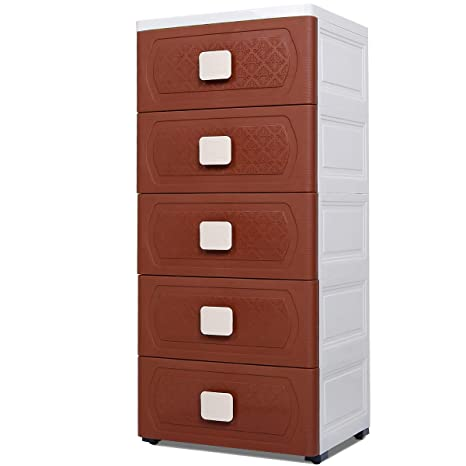 Nafenai Storage Cabinet 5 Drawer,Storage Drawers Cart with Wheel,Dressers  for Bedroom/Livingroom,Small Plastic Home Office Corner ...