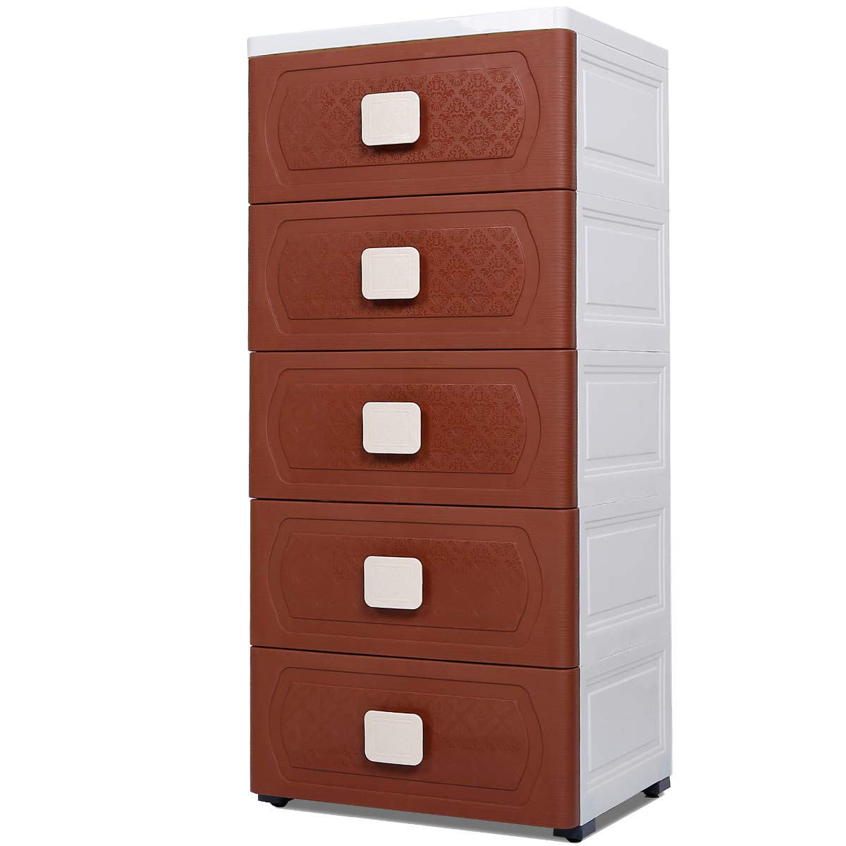 Nafenai Storage Cabinet 5 Drawer,Storage Drawers Cart with Wheel,Dressers for Bedroom/Livingroom,Small Plastic Home Office Corner Cabinets,Lightweight&Removable,Brown