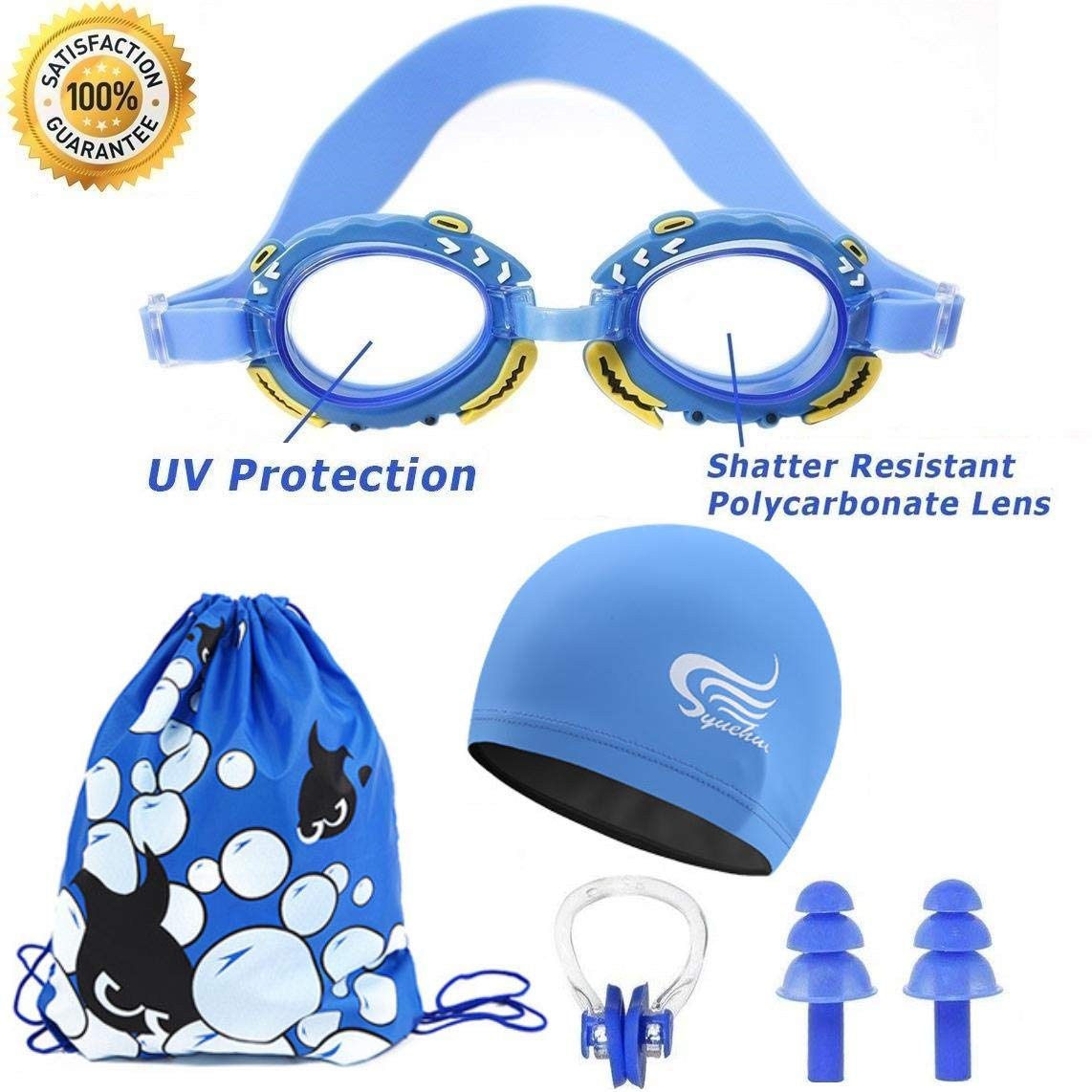 Swim Goggles For Kids | Mirrored Swimming Goggles No Leaking Anti Fog UV Protection - Free Protection Easy Adjustment With Cartoon Waterproof Swim Cap With Nose Clip, Ear Plugs and Carry Bag by Doc&Good Inc. (Image #7)