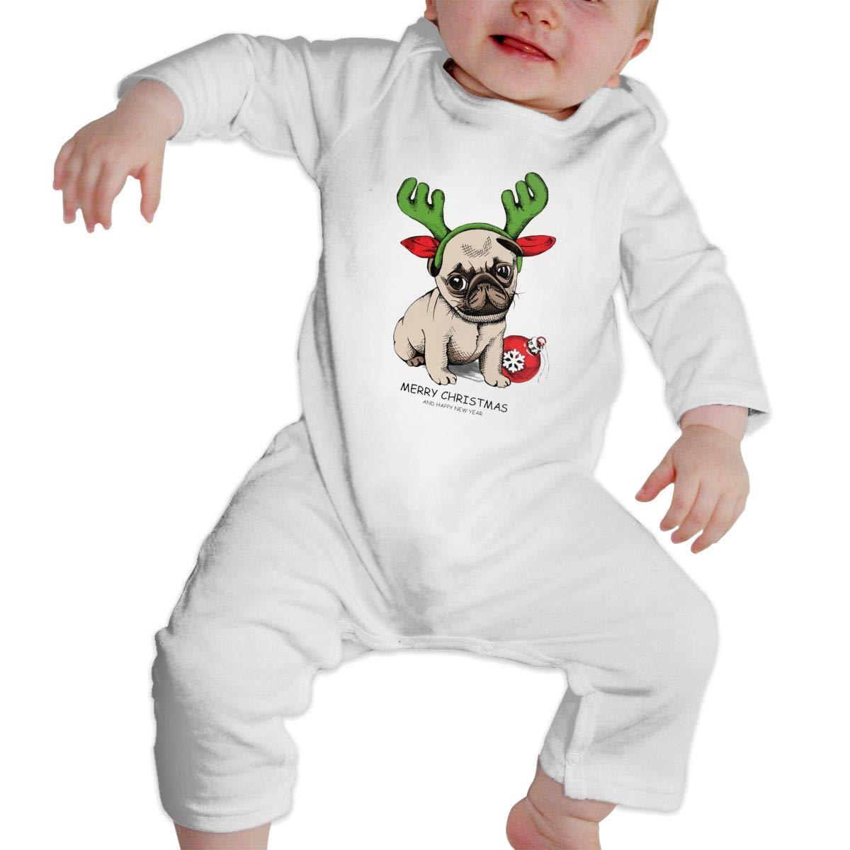 NOALKJ Babys Long Sleeve Romper,Merry-Christmas-Dog Jumpsuit Bodysuit Clothes