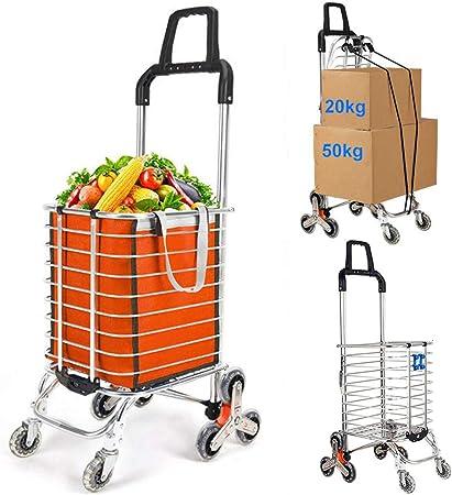Carro de la Compra Plegable para Utilidad Subir Escaleras Supermercado Servicio de Lavandería, Escalera de Aleación de Aluminio de 8 Ruedas,Capacidad de Carga de 50 kg,Púrpura,C: Amazon.es: Hogar