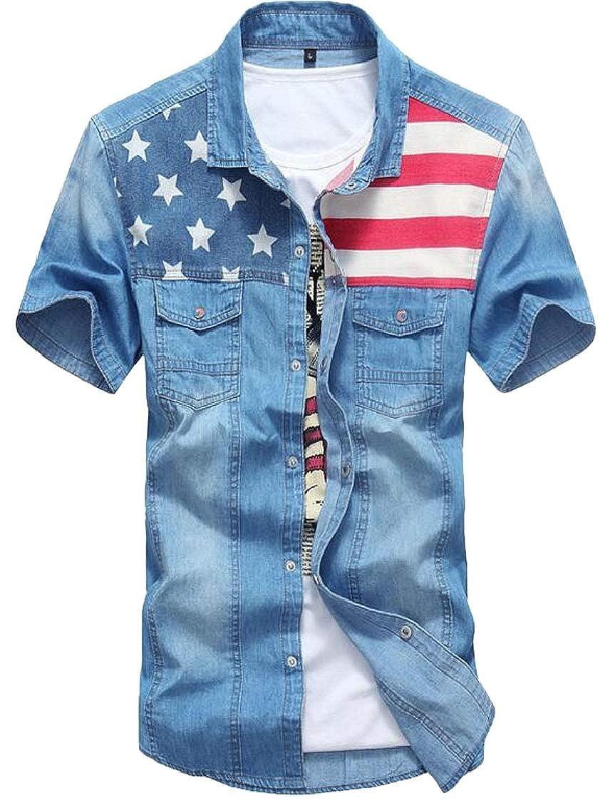 Men Slim Button Down Shirts Retro Denim Short Sleeve USA Flag Print Tops