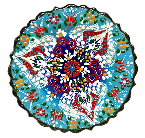 Nazar Turkish Imports ~Hand Painted Ceramic Plate-d:7 inch-Blue