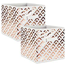 """DII Foldable Double Diamond Fabric Storage Containers for Cube Organizers, Toys, Cloths or Knick Knacks (Set of 4), 13 x 13 x 13"""", Copper"""