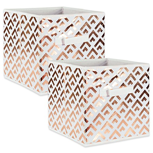 DII Fabric Storage Bins for Nursery, Offices, & Home Organization, Containers Are Made To Fit Standard Cube Organizers (13x13x13) Double Diamond Copper on White - Set of 2