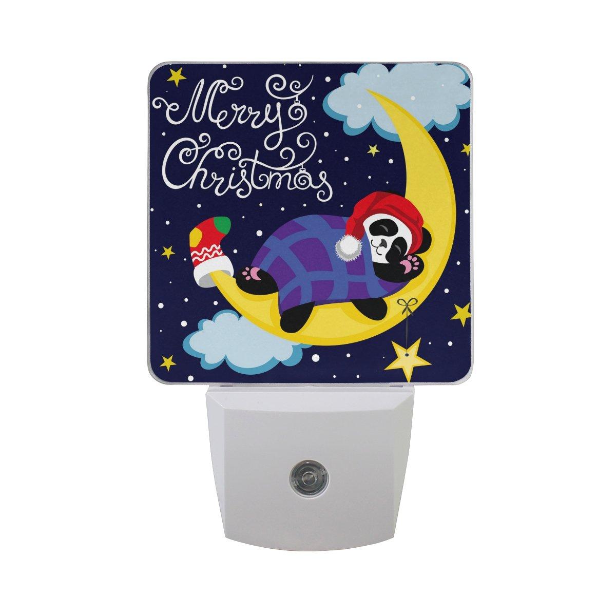 JOYPRINT Led Night Light Cute Sleeping Panda Moon Star, Auto Senor Dusk to Dawn Night Light Plug in for Kids Baby Girls Boys Adults Room