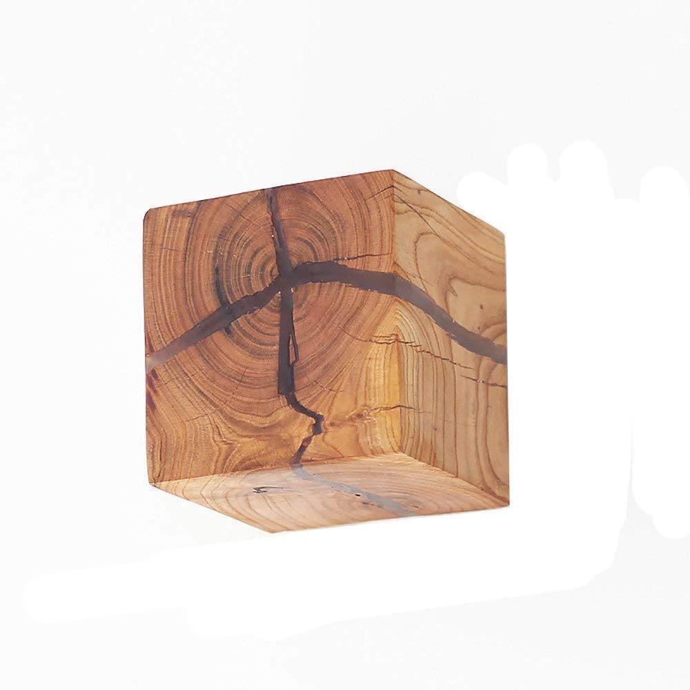 NOCHX 5W Kreativ Wandleuchte Klein Nachtlicht Warmweiß 3.14 * 3.14 * 3.14 Zoll Holz Riss Wandlampe LED Nachttischlampe Gangbeleuchtung Korridor wandbeleuchtung innen Dekoration - Wandleuchte mit kabel für steckdose [Energieklasse A++] NOCHX-MY-StyZ2