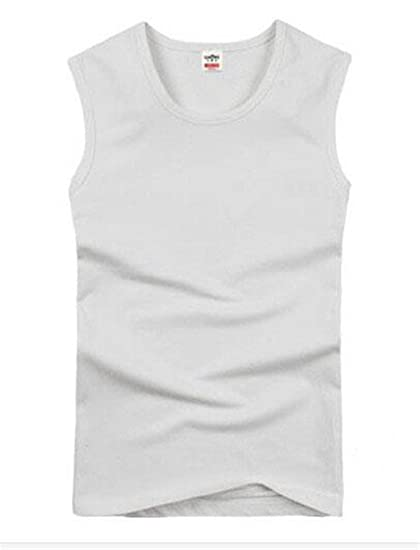 13b05af3a5 Image Unavailable. Image not available for. Color: Fashion Brand Men's 95% Cotton  O-Neck Tank Tops Summer ...