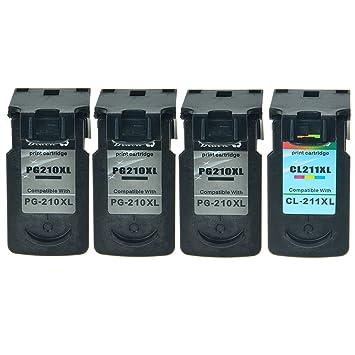 NineLeaf 4PK Office Products PG 210XL CL 211XL Black Color Remanufactured Inkjet Compatible For