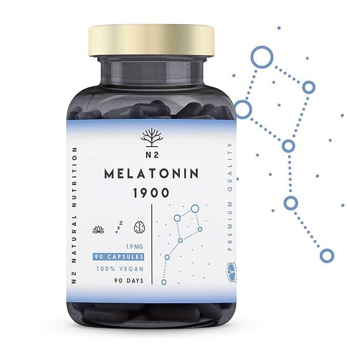 Melatonina Pura 1,9 mg, 5HTP Griffonia, Vitamina B6. Facilita la Conciliación y Mejora Calidad del Sueño. Reduce Estrés, Ansiedad, Insomnio. Mejora ...