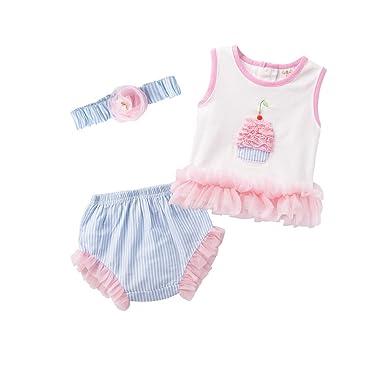 b69d17dafbb2d ACVIP Enfant Bébé Fille 3 Pièces Ensembles T-Shirt + Culotte + Bandeau Eté  en Dentelle Rose  Amazon.fr  Vêtements et accessoires
