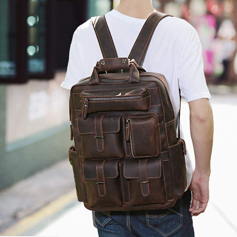 Dark Brown 43x32x11cm Business Briefcase LBYMYB Mens Backpack Large Capacity Leather Travel Bag Head Leather Bag Bag