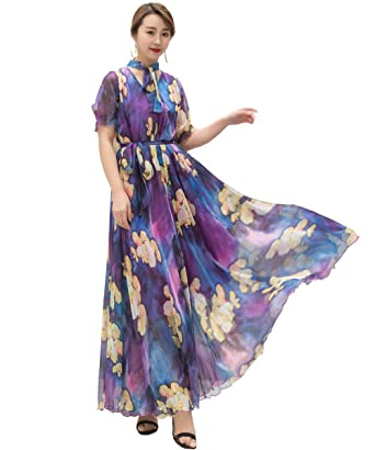 9501a49ce51 Medeshe Women s Summer Floral Long Beach Maxi Dress Lightweight Sundress (A  Purple Flowers