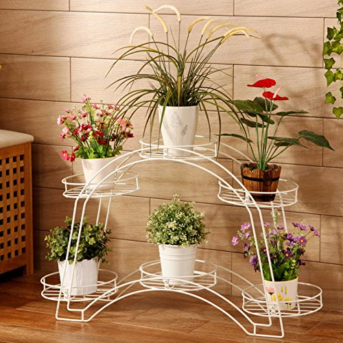 Arched disk frame/balcony double-decked flowerpot rack/living room floor flower/european iron art showy-A 88x54cm(35x21inch) by PYEVZCADQF