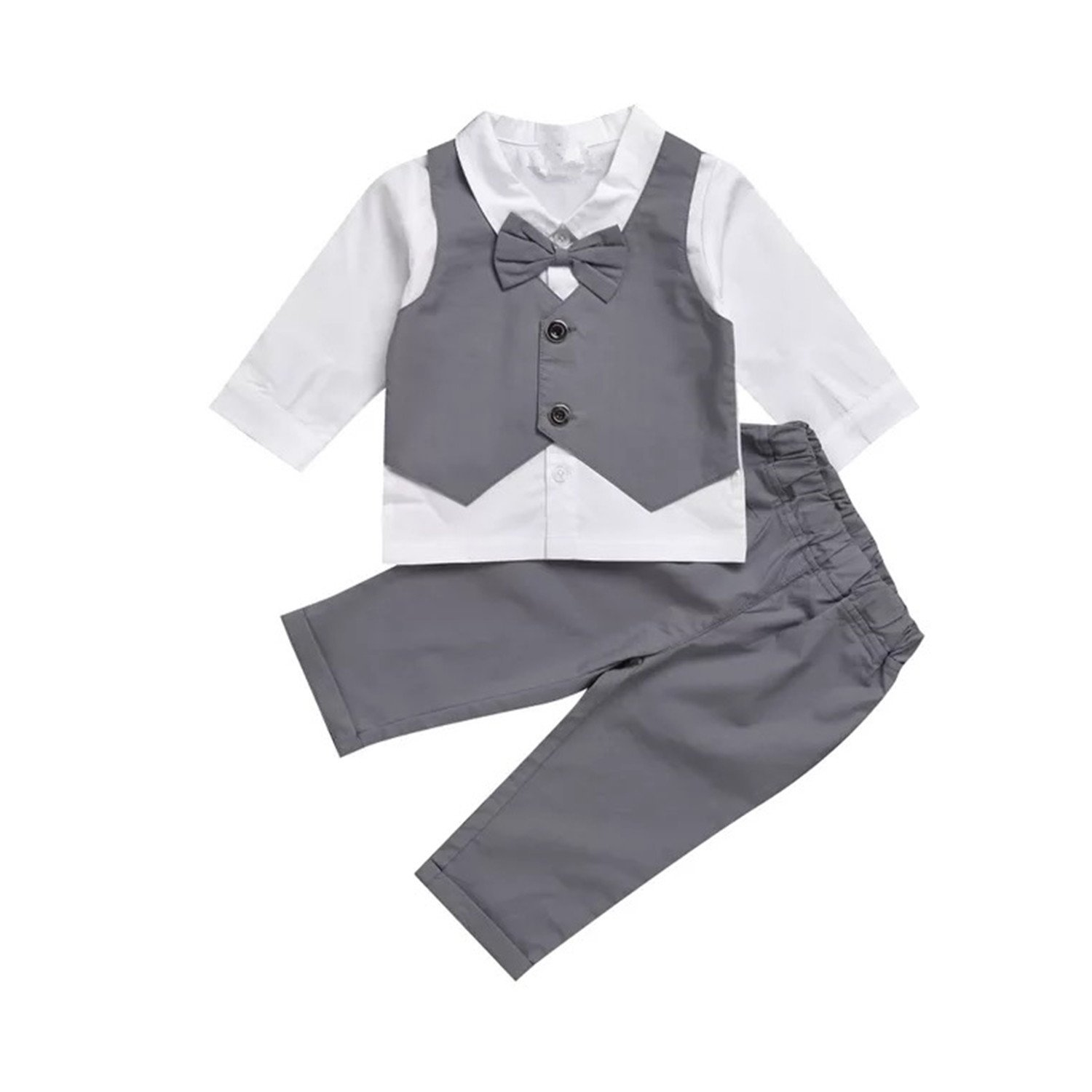 Infant and Toddler Baby Boy Gentleman Formal Party Wedding Suits Outfits (0-6Months, Grey)