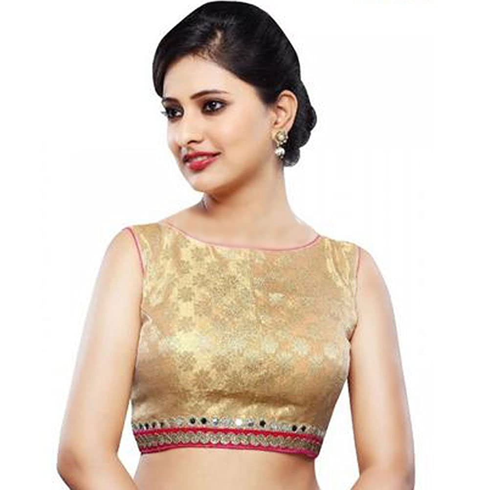 Bollywood Blouses Women s Sleeveless Brocade Gold Party Blouse at Amazon  Women s Clothing store