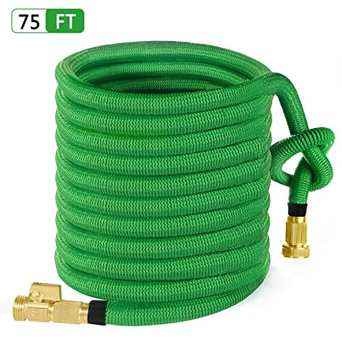 MoonLa 75ft Garden Hose, All New Expandable Water Hose with 3/4″ Solid Brass Fittings, Extra Strength Fabric – Flexible Expanding Hose with Free Storage Bag