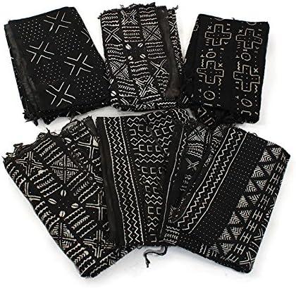 African Handwoven Mud Cloth Bambara Fabric Plain White