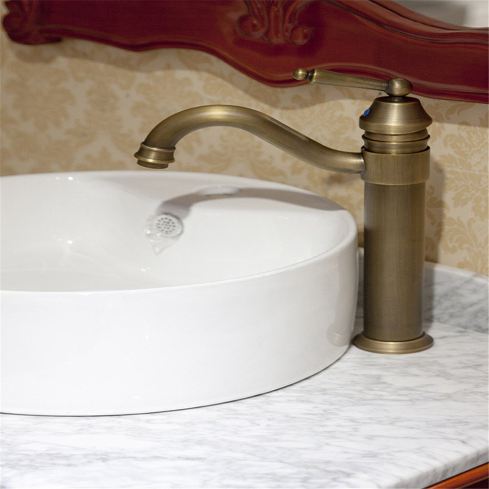 MMYNL TAPS MMYNL Waschtischarmatur Bad Mischbatterie Badarmatur Waschbecken Kupfer Antik Antike Antike Alle rotierenden Einzelne Bohrung Badezimmer Waschtischmischer