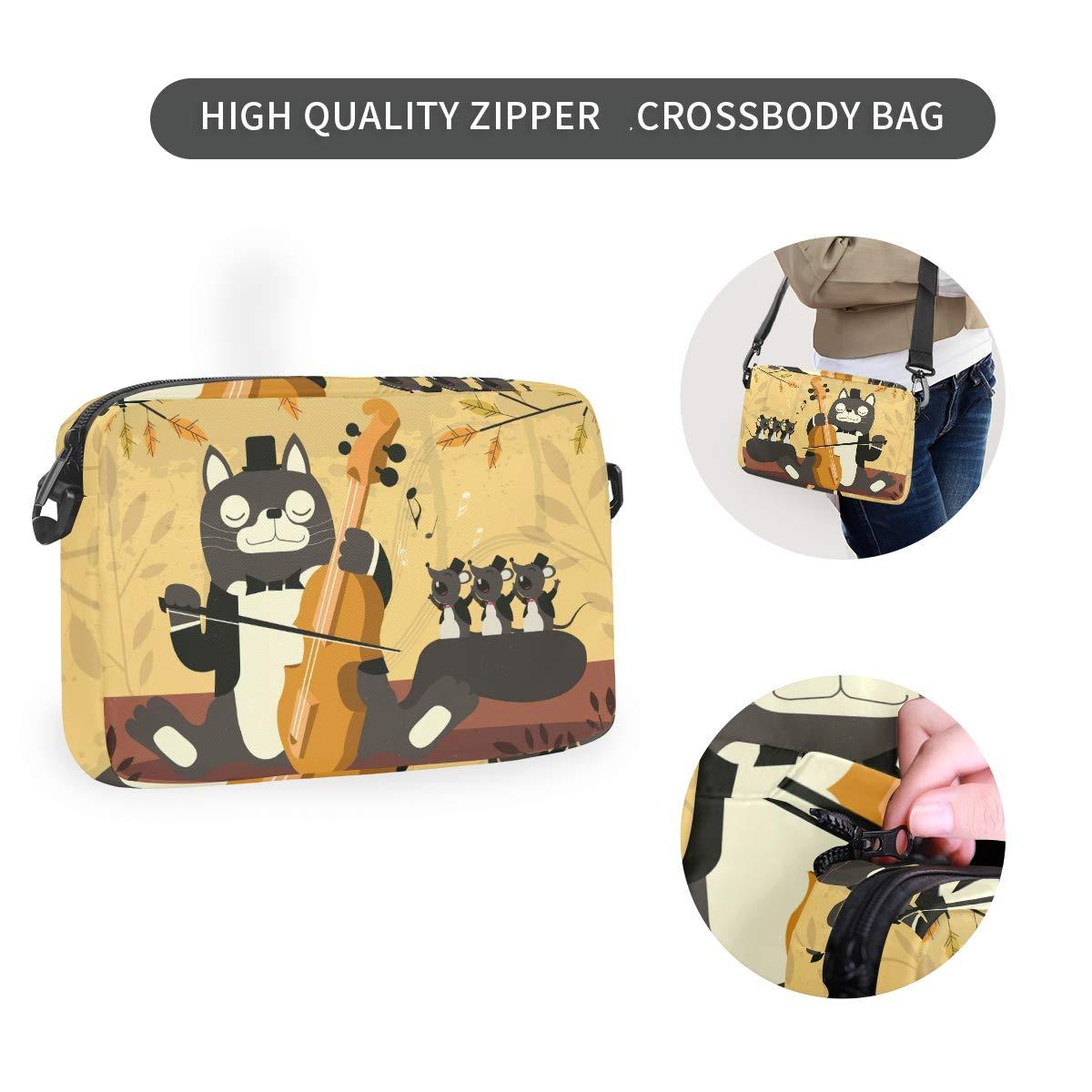 Guitar Cat Mice Shoulder Backpack Messenger Crossbody Laptop Bag Student Bookbags for Kid Girls Boys