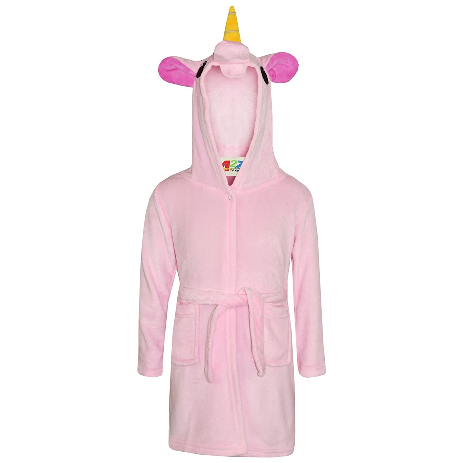 A2Z 4 Kids® Girls Bathrobes Kids 3D Animal Soft Hooded Fleece Unicorn Cosplay Baby Pink Bathrobe Dressing Gown Night Lounge Wear Age 5 6 7 8 9 10 11 12 13 Years